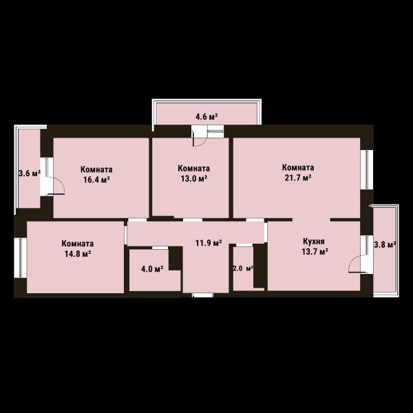 Планировка Четырёхкомнатная квартира площадью 97.4 кв.м в ЖК «Репка»