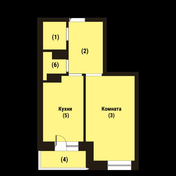 Планировка Однокомнатная квартира площадью 38.7 кв.м в ЖК «Репка»