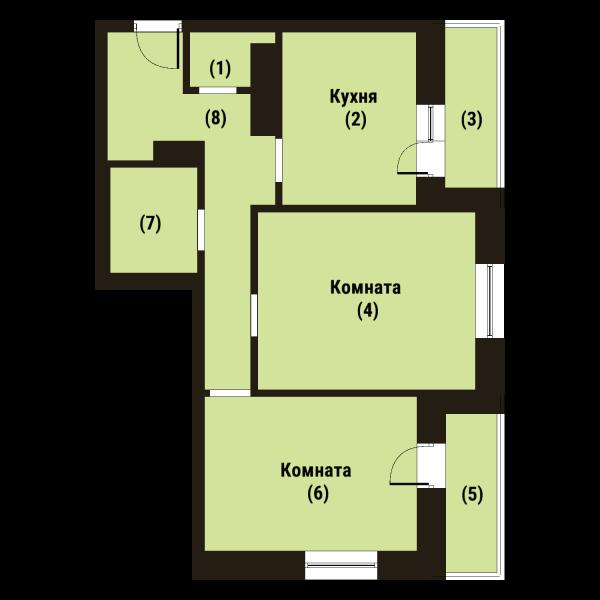 Планировка Двухкомнатная квартира площадью 57.4 кв.м в ЖК «Репка»
