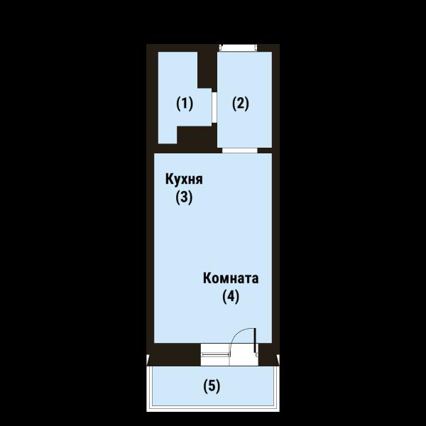 Планировка Студия площадью 21.8 кв.м в ЖК «Репка»