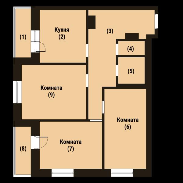 Планировка Трёхкомнатная квартира площадью 78.1 кв.м в ЖК «Репка»
