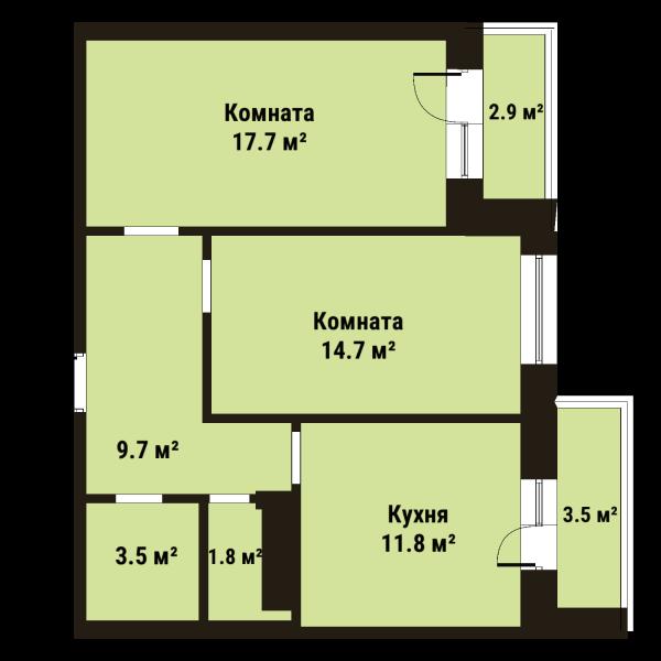 Планировка Двухкомнатная квартира площадью 59 кв.м в ЖК «Репка»