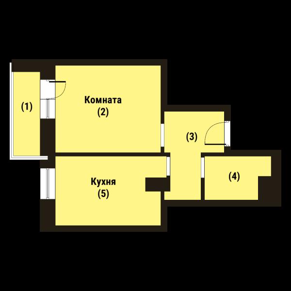 Планировка Однокомнатная квартира площадью 36 кв.м в ЖК «Репка»