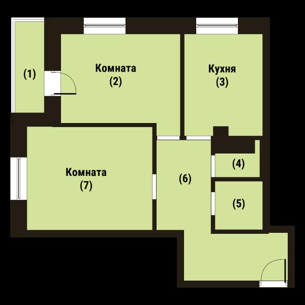 Планировка Двухкомнатная квартира площадью 58.8 кв.м в ЖК «Репка»