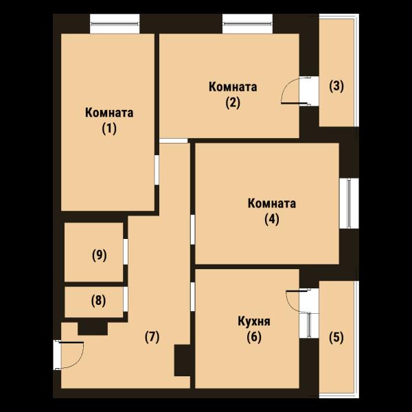 Планировка Трёхкомнатная квартира площадью 77.9 кв.м в ЖК «Репка»