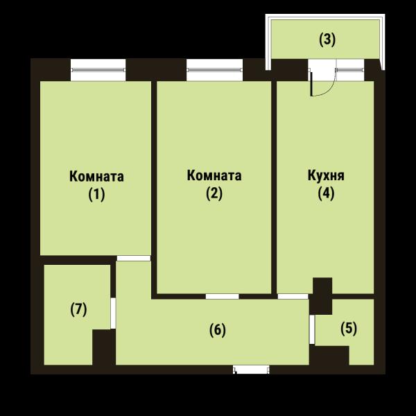 Планировка Двухкомнатная квартира площадью 62.3 кв.м в ЖК «Репка»