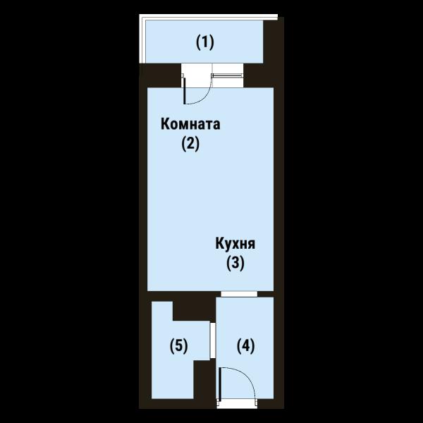 Планировка Студия площадью 21.7 кв.м в ЖК «Репка»